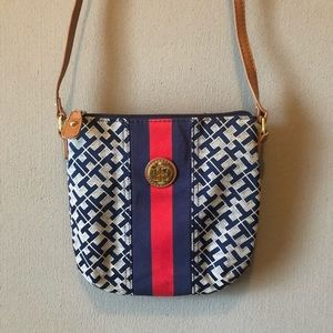 Tommy Hilfiger Navy Blue Red Initial Crossbody Bag